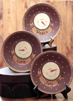 Peace, Love, Joy Snowmen Plates (Set of 3)