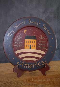 America Home Sweet Home Primitive Plate