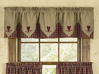 Park Designs Sturbridge Heart Embroidered Lined Point Curtain Valance
