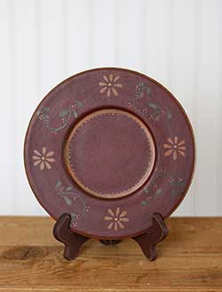 Burgundy Floral Primitive Candle Plate