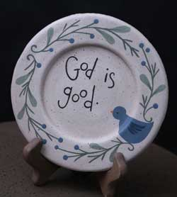 God is Good Plate with Bluebird