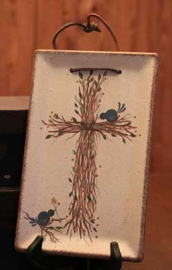 Bluebirds & Branches Hanging Tray with Cross