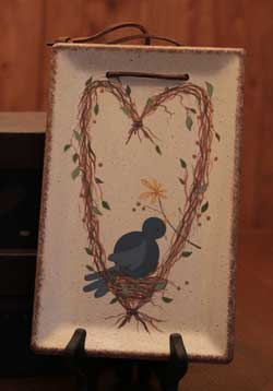 Bluebirds & Branches Hanging Tray with Heart