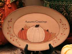 Autumn Greetings Oval Tray