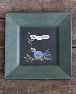 Cherish Family Primitive Plate with Bluebird