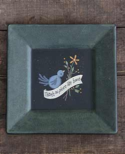 No Place Like Home Primitive Plate with Bluebird