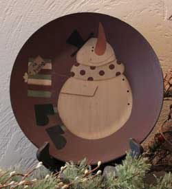 No Peeking Snowman Plate