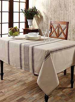 Charlotte Slate Cotton & Linen Tablecloth - Rectangle (57 x 102 inch)