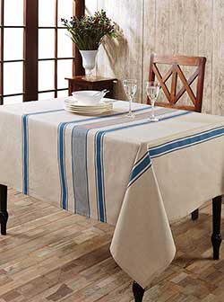 Charlotte Azure Cotton & Linen Tablecloth - Rectangle (57 x 102 inch)