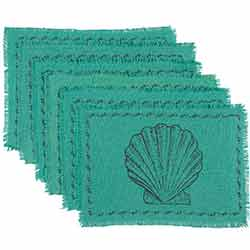 Sandy Aqua Burlap Placemats (Set of 6)