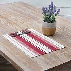 Samantha Red Ribbed Placemats (Set of 6)