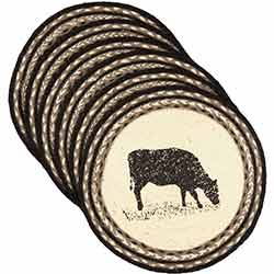 Sawyer Mill Cow Braided Placemats (Set of 6) - Round