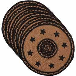 Farmhouse Braided Placemats with Stars (Set of 6) - Round