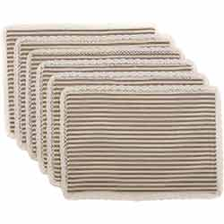 Kendra Stripe Black Placemats (Set of 6)