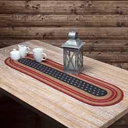 Liberty Stars Flag Braided Table Runner - 48 inch