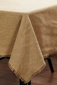 Victorian Heart Burlap Natural Tablecloth, 60 x 60 inch
