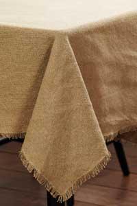 Victorian Heart Burlap Natural Tablecloth, 60 x 80 inch