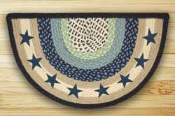 Blue Stars Half Moon Braided Jute Rug