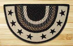 Black Stars Half Moon Braided Jute Rug
