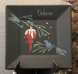 Birds and Ornament Plate - Believe