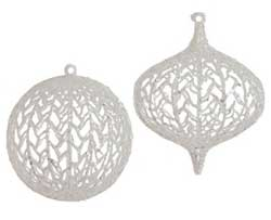 Clear Glittered Ball or Kismet Ornament