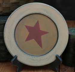 Distressed Plate with Star - 9.5 inch (Ivory & Mustard)