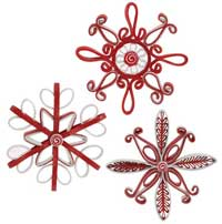 Red / White Ribbon Snowflake Ornament