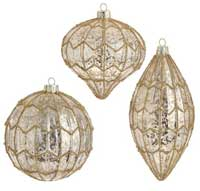 Gold Antiqued Beaded Ornament