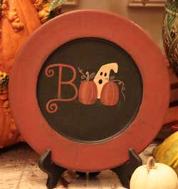 Boo Ghost with Pumpkins Plate
