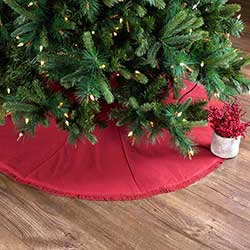 Festive Red Burlap 48 inch Tree Skirt