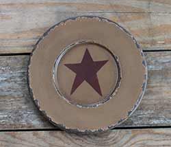 Chippy Paint Wood Plate with Red Star - Mustard
