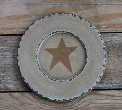 Chippy Paint Wood Plate with Mustard Star - Ivory