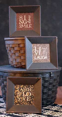 Laugh, Hope, Smile Square Plates (Set of 3)