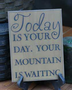 The Hearthside Collection Mountain is Waiting Wall Plaque - Oatmeal