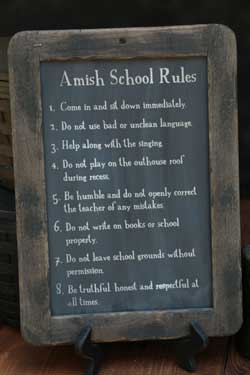 Amish School Rules Large Blackboard