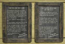 Fighting Roosters Folk Tale Blackboard