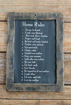 Home Rules Blackboard Wall Decor
