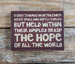 A Baby's Hands Standing Box Sign