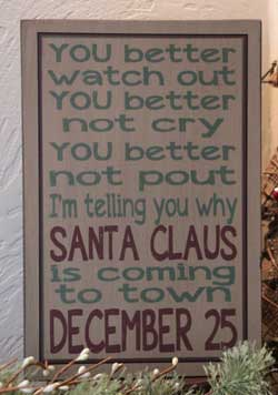 Santa Claus Box Sign - Tan