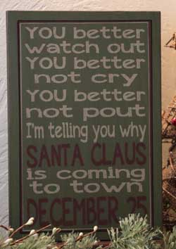 Santa Claus Primitive Christmas Box Sign - Green