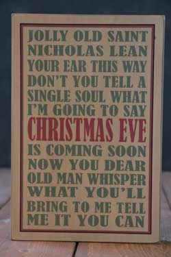 Jolly Old St Nick Box Sign - Tan