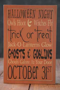 Ghosts & Goblins Box Sign - Orange