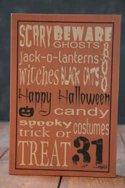 Happy Halloween Box Sign - Orange