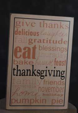 Give Thanks Box Sign - Ivory