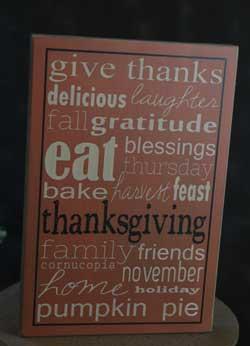 Give Thanks Box Sign - Orange