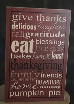 Give Thanks Box Sign - Burgundy
