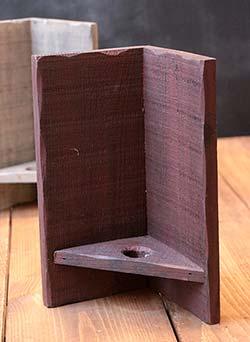 Wood Corner Candle Sconce - Burgundy