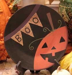 Boo Burlap Halloween Plate