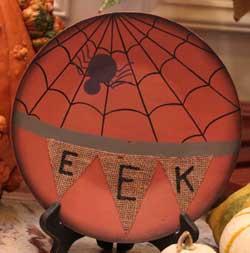 Eek Burlap Halloween Plate