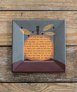 Fall Bucket List Pumpkin Primitive Plate - Gray
